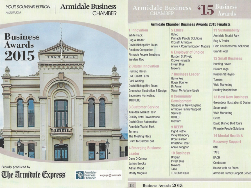 Business Chamber Awards 2015 Front Cover and Awards Listing